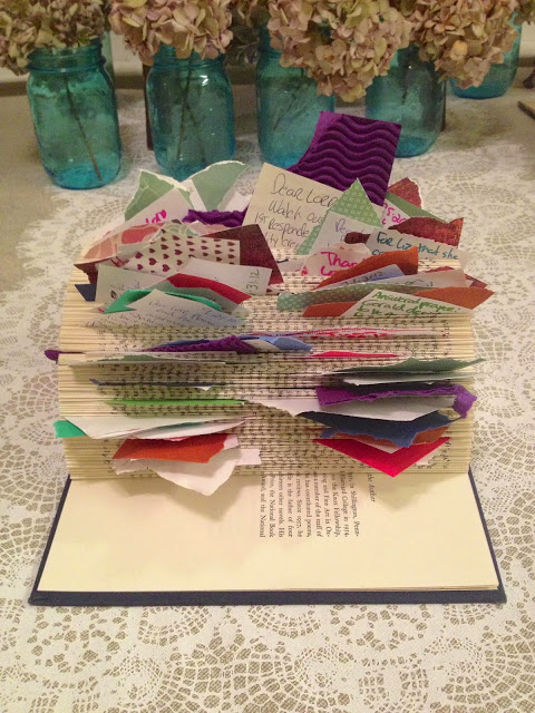 Liz Murphy took prayers on slips of paper out of her prayer jar and added cardstock to them  and now they are easy to see -  and easy to bring to prayer time.