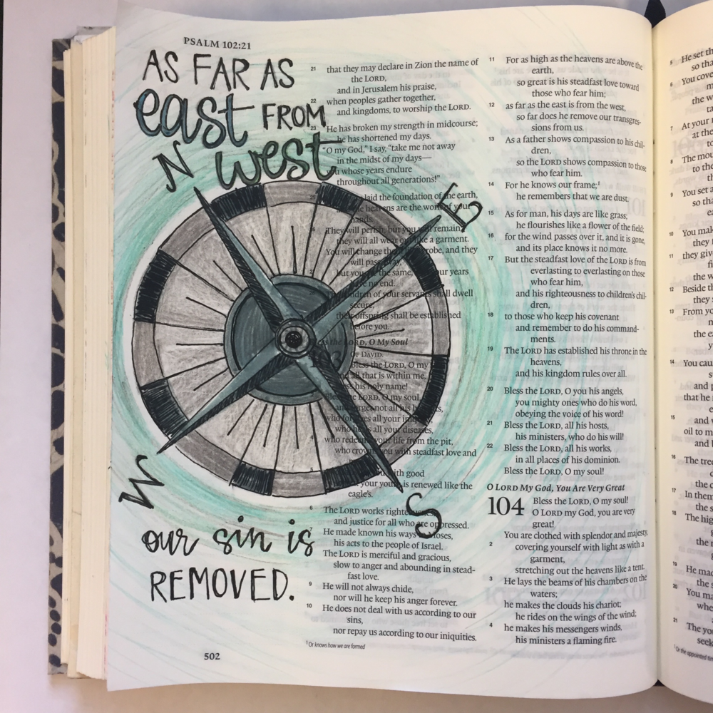 """Psalm 103:12 Andrea KiLpatrick """"As far as the east is from the west…"""" These are powerful words, but what I love even more are the verses right before this one, """"as high as the heavens are above the earth, so great is his steadfast love."""" I chose the compass to show the extensiveness of his love and forgiveness as the lines pointing out away from each are never ending. That's God's amazing love for us!"""
