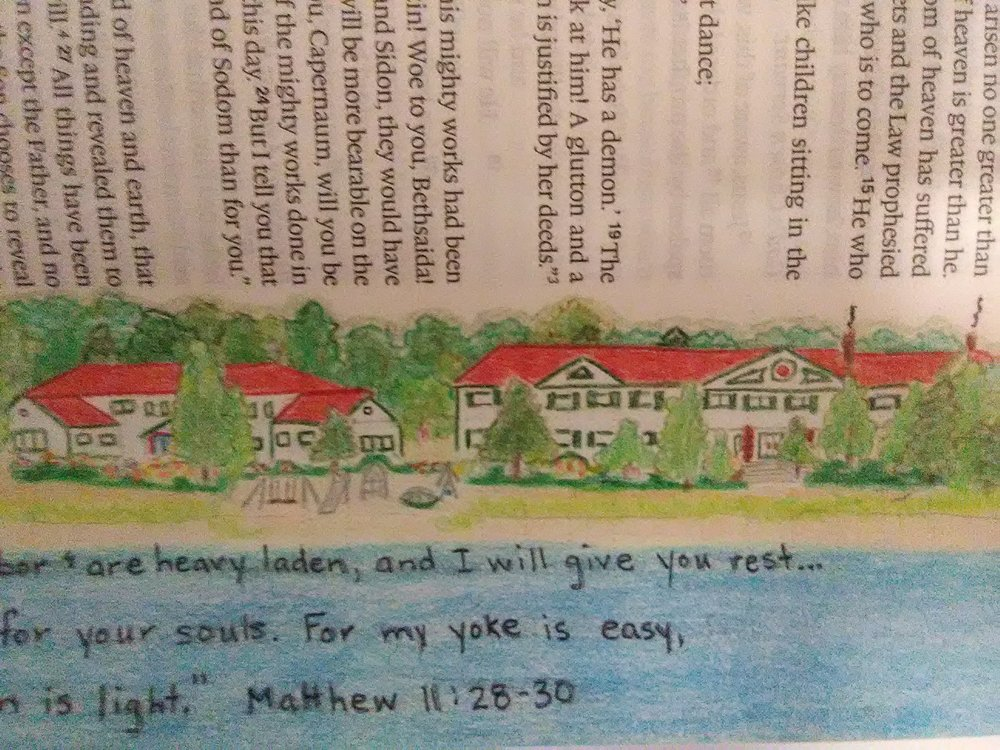 VALERIE MATYAS MATTHEW 11:28-30   For the past 6 years my family has vacationed at Camp Arcadia, in Arcadia, MI, on the shore of Lake Michigan.  We continue to return because of the real rest and peace we experience during our week's stay.  Pat Maier created a coloring book to commemorate camp and I borrowed her shoreline picture to trace in my bible.  The tracing was done at the end of our 2016 summer.  I waited until our 2017 visit to color it.  I sat outside the Inn, with the waves to my back and the sun on my skin.  It was an amazing experience.  I paired the picture with Matthew 11:28-30.