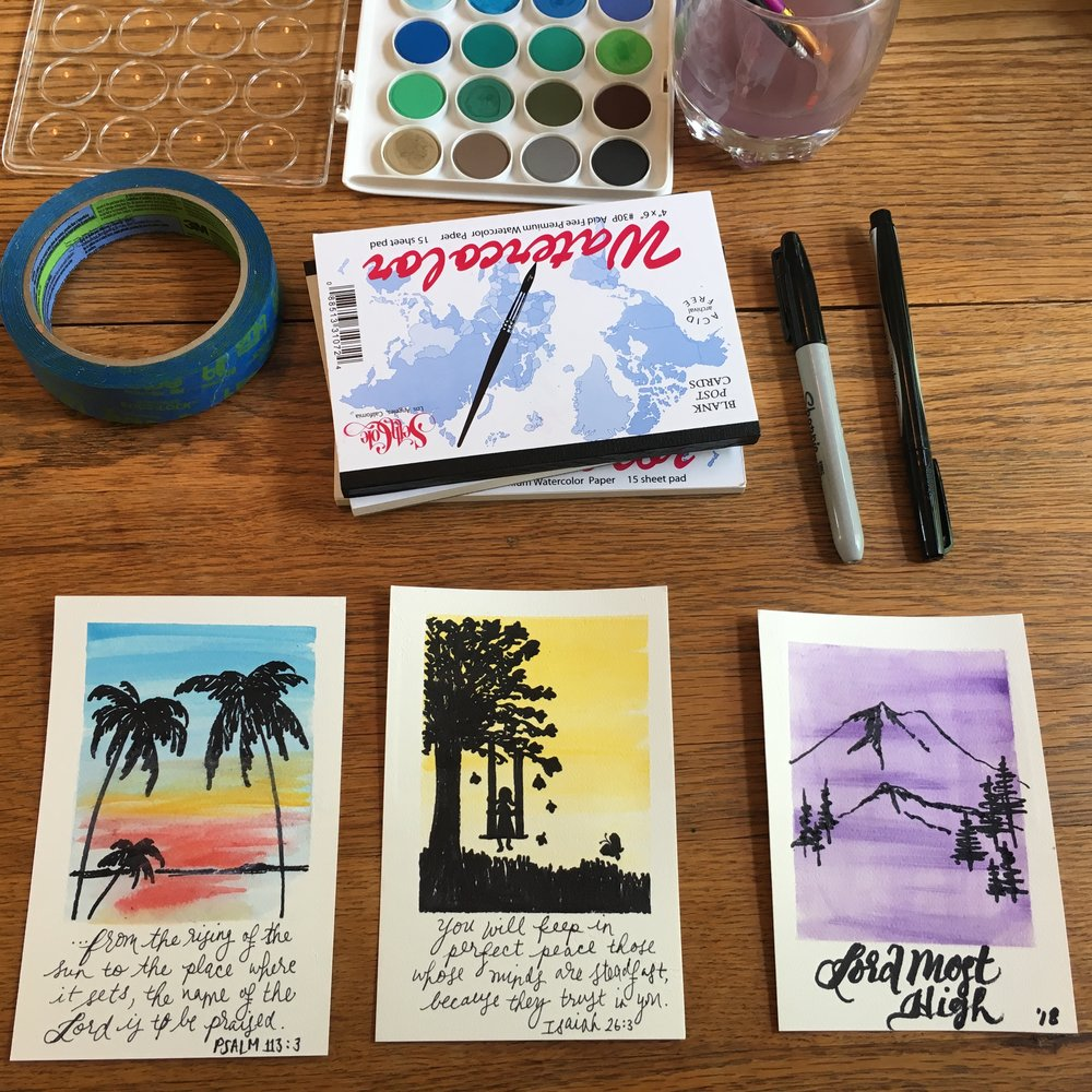 We also tried our hands at Polaroid Praise - watercolor and Sharpie pens on watercolor paper.