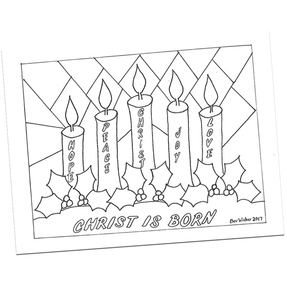 Advent Wreath Coloring Page By Bev Wicher Visual Faith Ministry