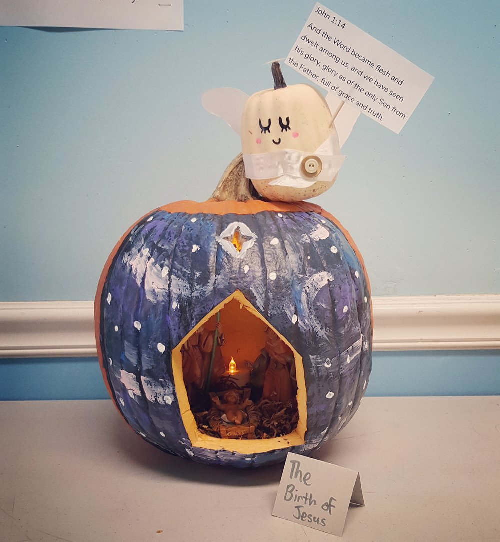 Emily Ransdell's pumpkin for her school's Biblical pumpkin carving contest.
