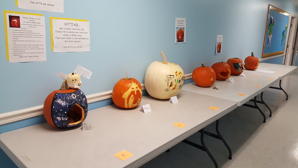 The pumpkin contest at St. John's Lutheran School in Dover, Delaware - Emily's pumpkin won!
