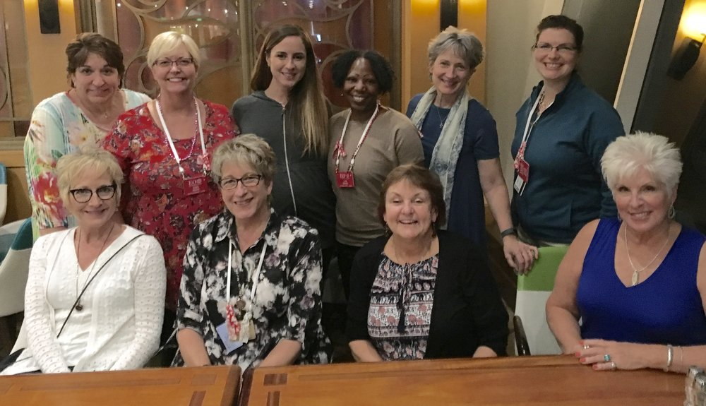 We were blessed with this gathering of Visual Faith coaches that assembled for the cruise.  Front- L to R- Teresa Davis, Connie Denninger, Liz Murphy, and Webmaster- Diane Marra.  Back- L to R- Peggy Thibodeau, Eden Keefe, Sara Wilson, Lisa Brass, Pat Maier and Valerie Matyas.