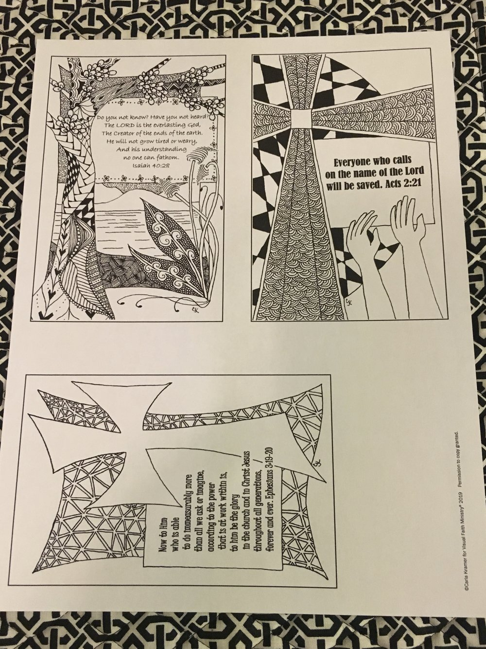 The black pen images are intricate and provide thoughtful prayer meditation images just as they are designed.
