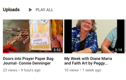 One of the videos shows a paper bag journal that accompanies the Doors into Prayer retreat by Connie Denninger. Another one highlights the creative week of a visual faith gatherings of friends made on the Extravagant Love cruise- Melanie Leschnik, Peggy Thibodeau, Diane Marra and Kathy Noel.