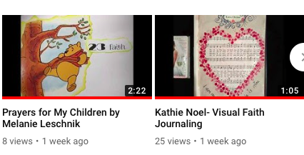 This video shows the Prayers for My Children Project by Melanie Leschnik using a Dollar Store Winnie the Pook book and made for her morther-to-be niece. Visual Faith Journaling by Kathie Noel.highlights the ways she uses hymnals for journaling and the variety of styles for interacting for Visal Faith processing.