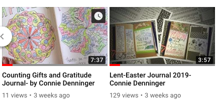 The Counting Gifts and Gratitude Journal by Connie Denninger helps to show the combined practices that bring doable, grace-filled prayer together. The Lent and Easter Journal shows the Traveler's Journal format that brings resources together and allows multiple season additions.