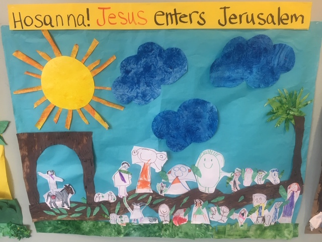 The large murals- measuring about 3 by 4 feet in size are begun about 2 weeks before the Easter Chapel schedules. The images are drawn by the young artists, colored, finished, cut out and then assembled in groups to create each story board .