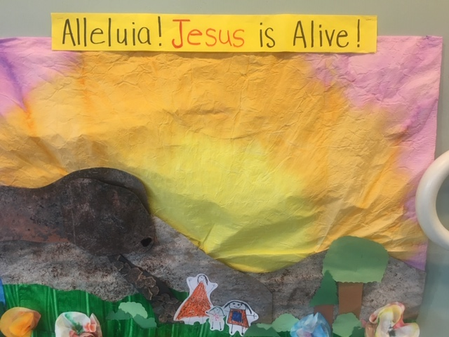 The murals are left in the Church Narthex to greet all worshippers for Holy Week. You can almost hear the Alleluia - He is Alive! Thank you to Bonnie Hughes for the photos and story to share with the Visual Faith Community. Blessed Holy Week and Easter to all!