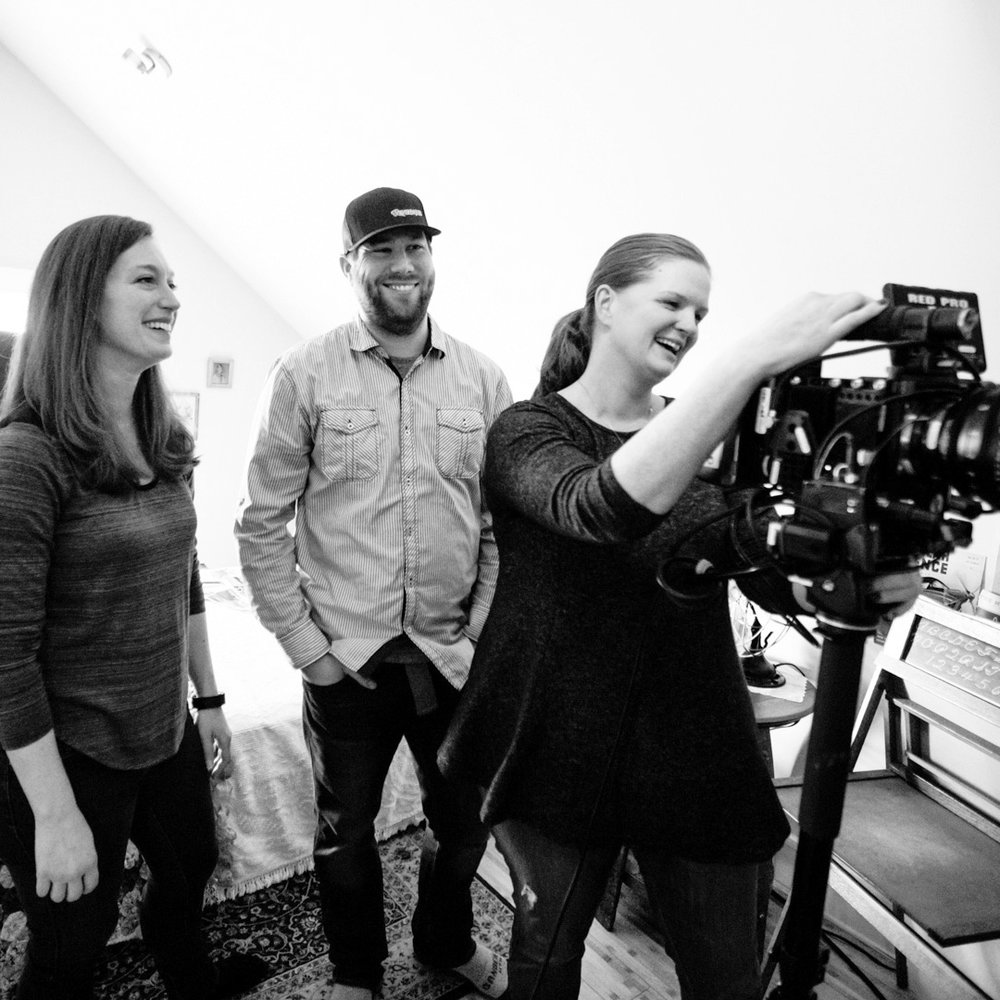Left to right: Cristina Pippa (Co-Creator), Matthew Deery (Producer), and Maribeth Romslo (Co-Creator) on the set of Amelia. Photo credit: Tanner Morris