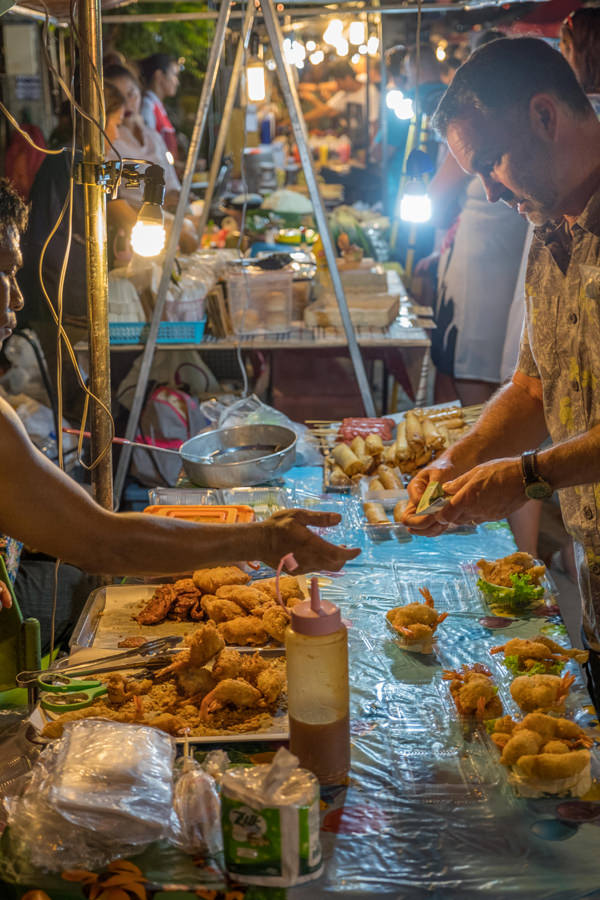 Buying food at Fisherman's Village Market, Koh Samui