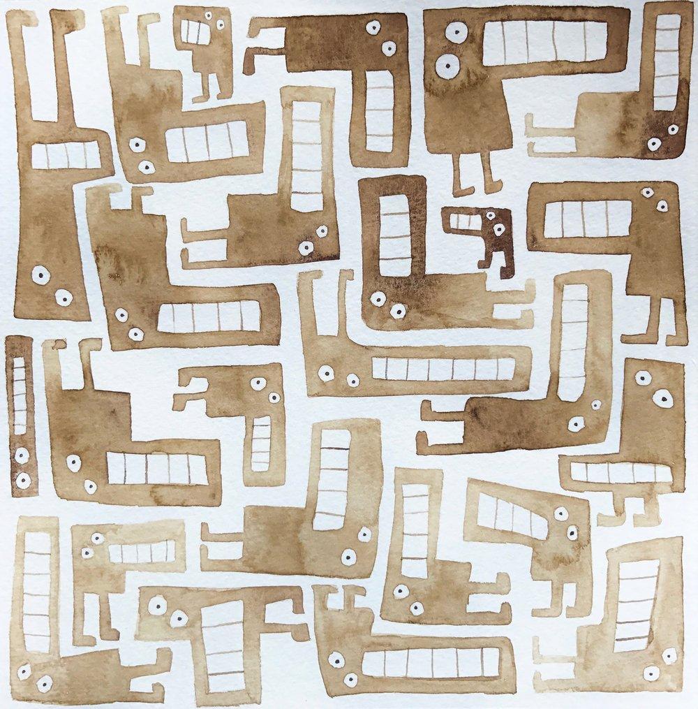 Tetris critters brown