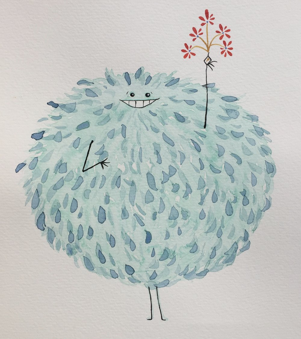 Poofy Frawna - Poofy Frawna likes to illegally pick flowers from highway medians. She is often blown around the road like a tumbleweed. You may find her stuck in your windshield wipers gnawing at the rubber while showing you her pretty flowers.