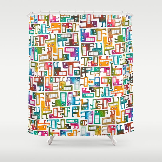Tetris Monsters Shower Curtain