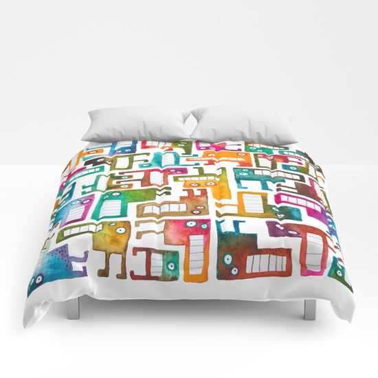 Tetris Monsters Duvet Cover