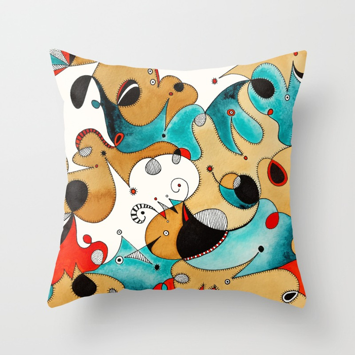 Abstract Tea Critters Throw Pillow