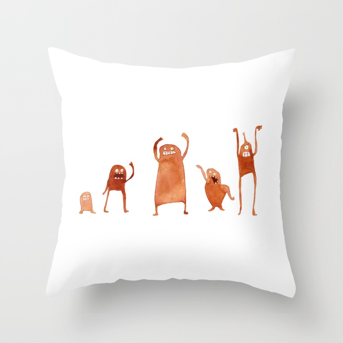 Monster Dance Party Throw Pillow