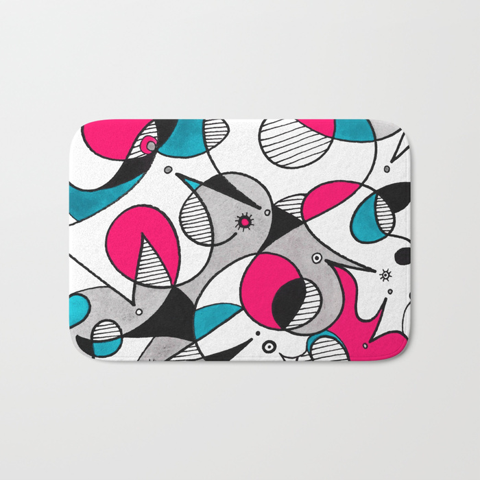 Abstract Birds Bath Mat