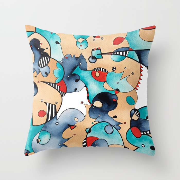 Abstract High Tea Contrast Throw Pillow