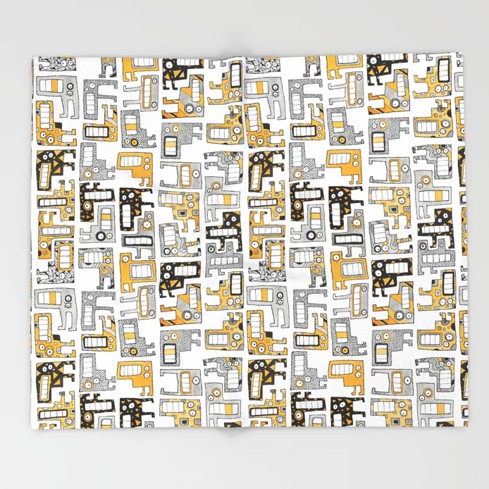 Tetris Monsters Yellow Throw Blanket