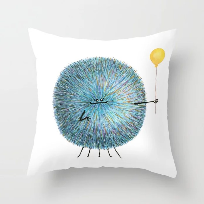 Poofy Poofus Throw Pillow