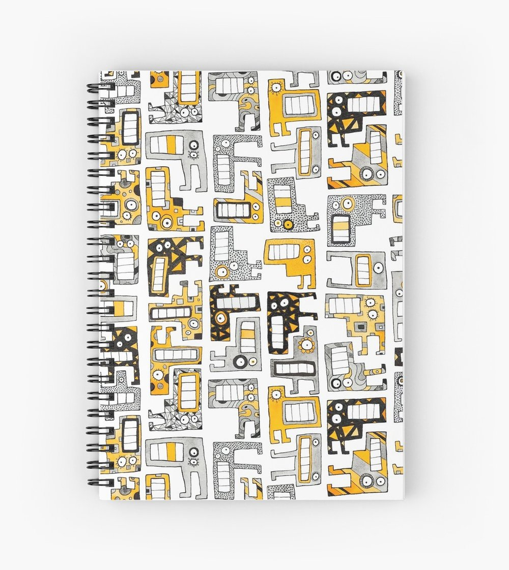 Tetris Monsters Yellow Spiral Notebook