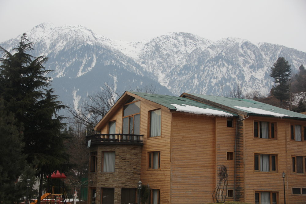 Our accommodation in Pahalgam with a beautiful backdrop
