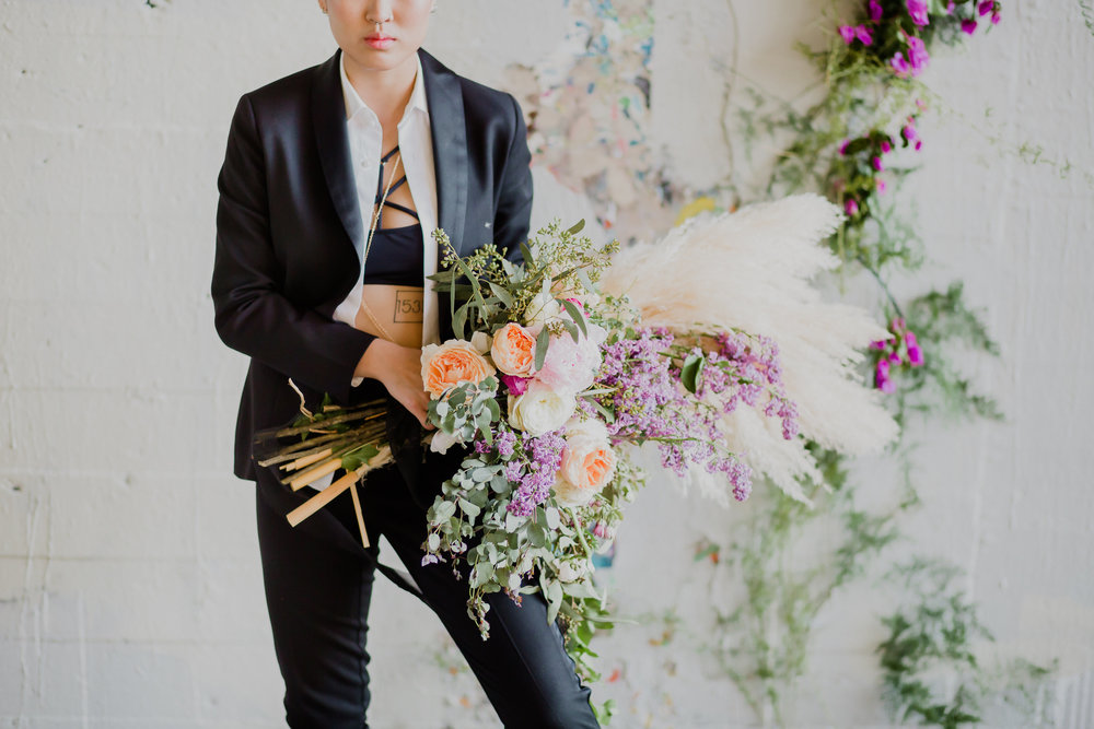 pampas grass bouquet with bride with tux #lrqcfloral #pampasgrass