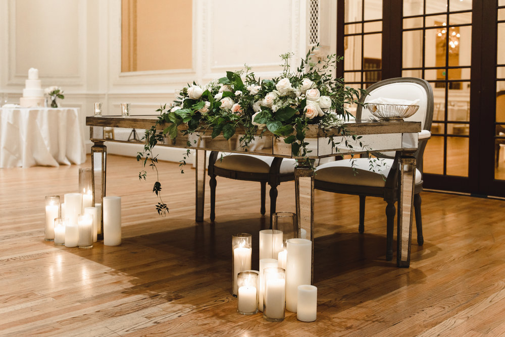 blush + white sweetheart table florals with candles #lrqcfloral #sweetheart.jpg