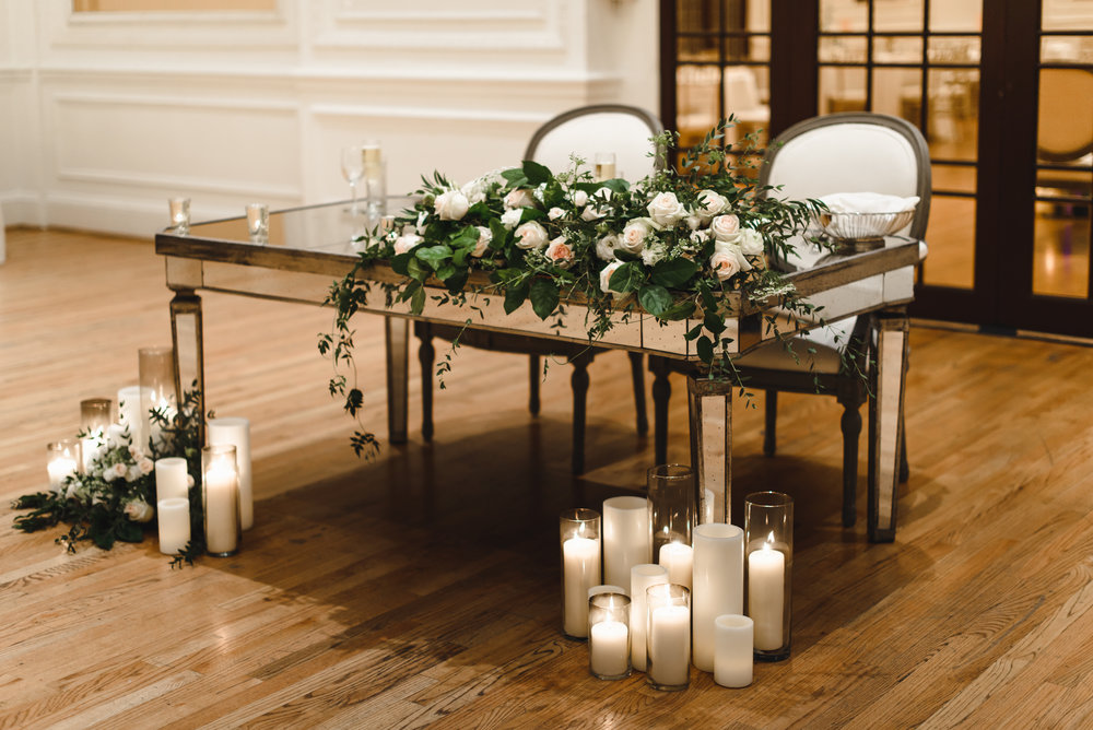 blush and cream sweetheart table florals with candles #lrqcfloral.jpg