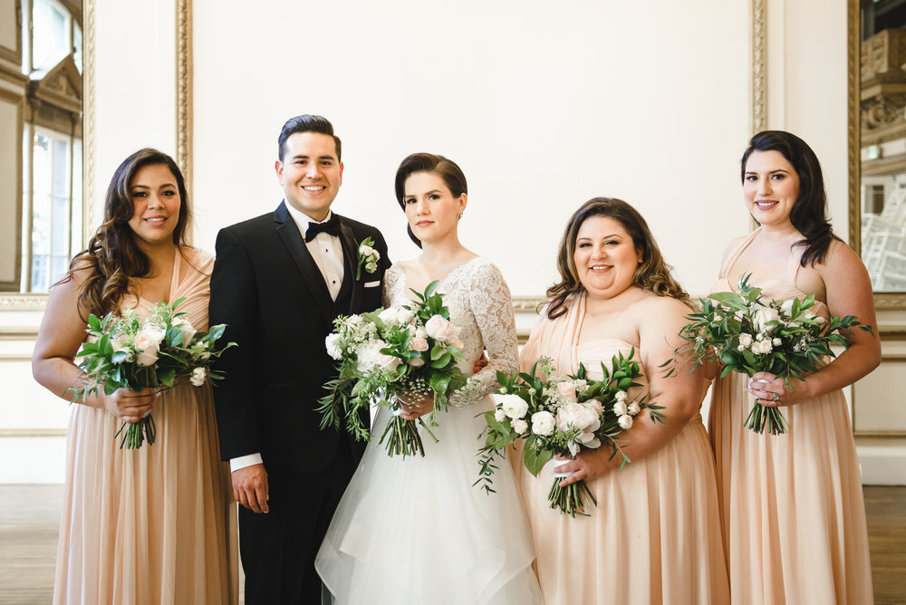 bridesmaids and groom photo ideas with blush bouquets #lrqcfloral #dtlawedding .jpg