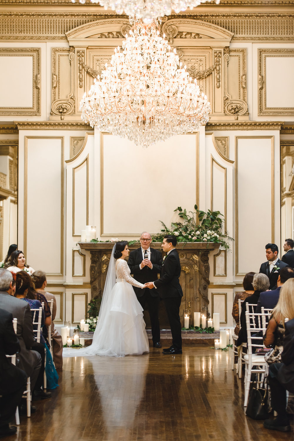fireplace wedding ceremony with florals at Alexandria Ballroom #lrqcfloral #dtlawedding.jpg