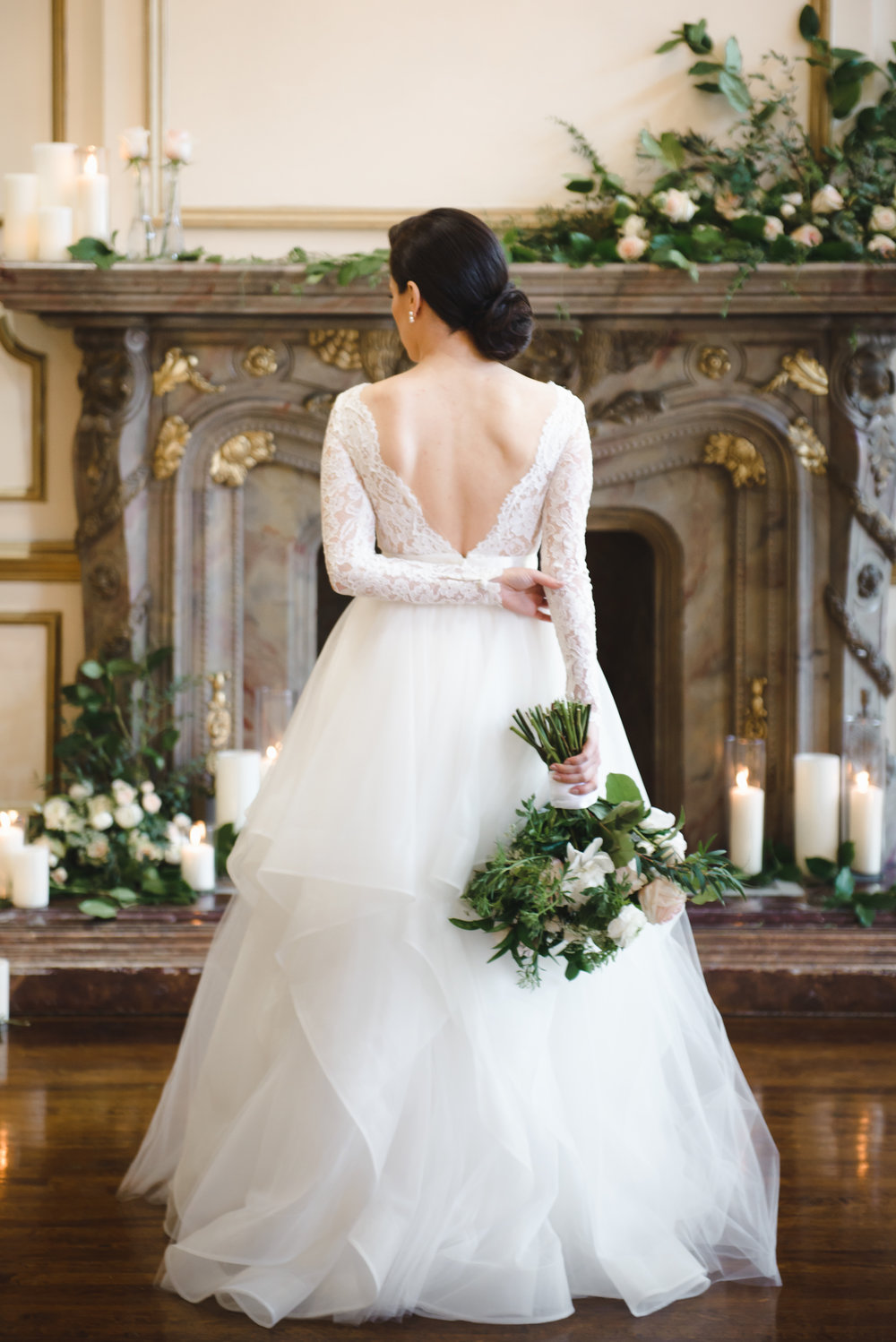 mantel florals at alexandria ballroom low back dress #dtlawedding #lrqcfloral.jpg