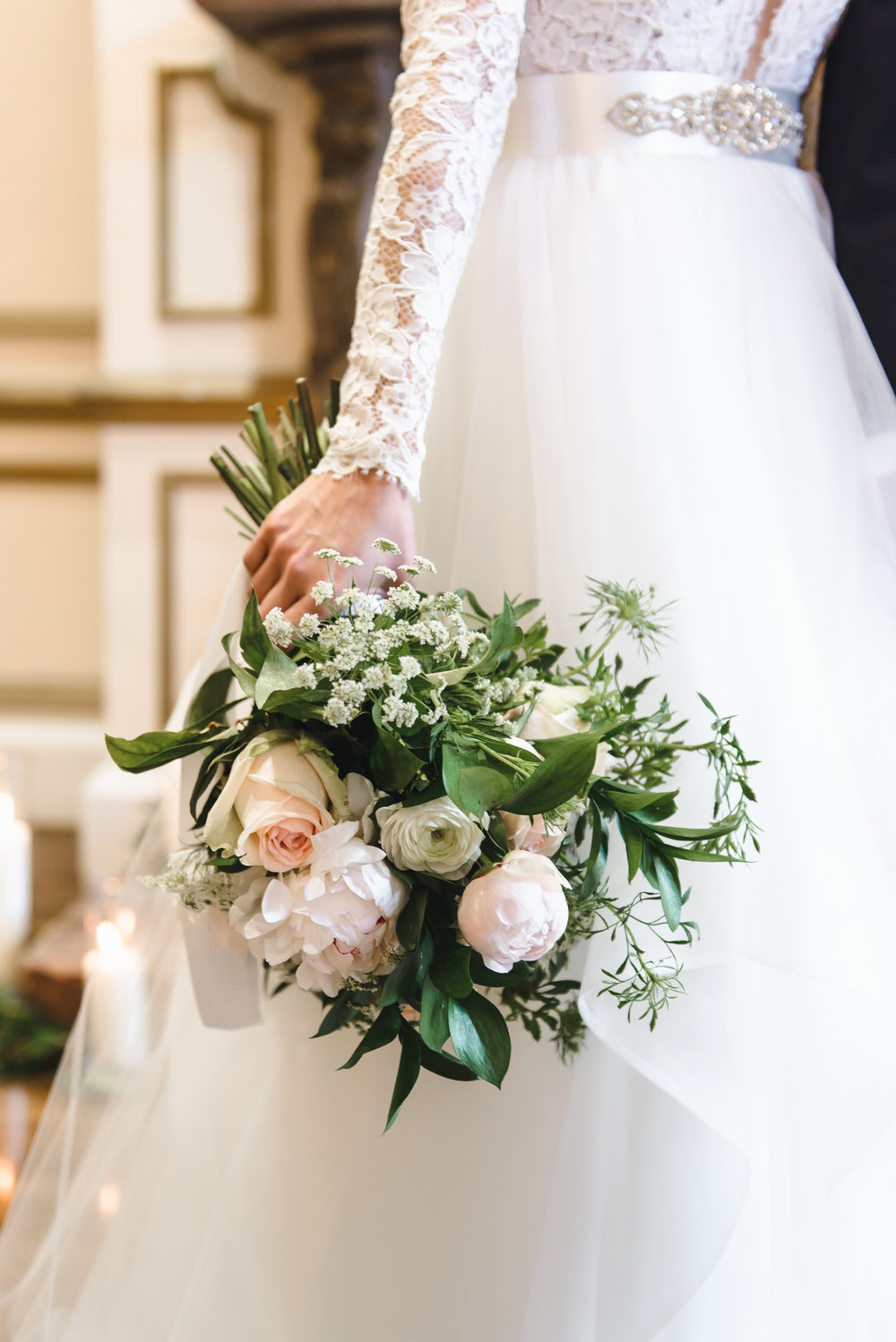 Romantic blush and cream bouquet with long sleeved dress #LRQCfloral.jpg