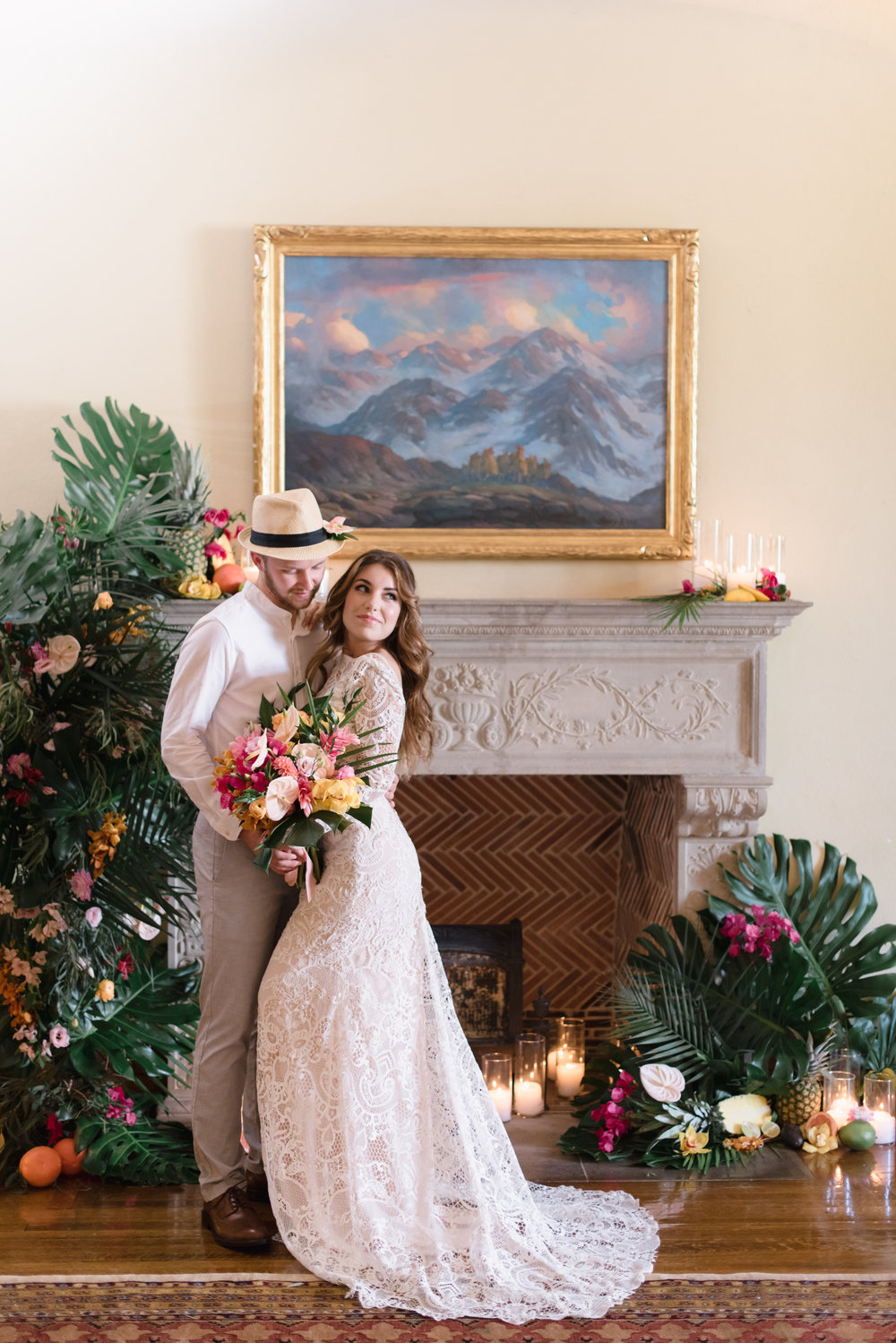 ceremony florals for a fireplace ceremony.jpg