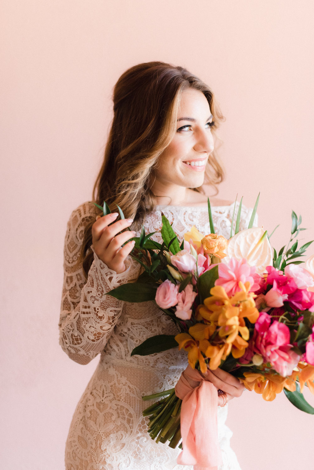 bright pink and orange tropical wedding florals for a wild bouquet.jpg