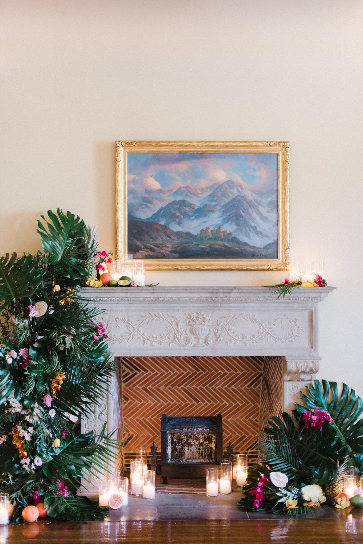 tropical fireplace mantels for a wedding.jpg