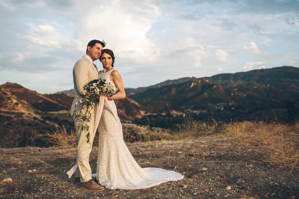 sunset photo in malibu canyon with an airplant bouquet.jpg