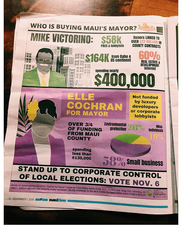 Our island is facing a threat of O'ahu style gentrification & corruption, please GO OUT & VOTE TO PROTECT MAUI NUI (Maui, Lana'i, Molokai, & Kaho'olawe)  I'd like to mahalo all Pono Maui County candidates who stand up against government corruption & have the courage to kōkua our kanaka at all angles. We have to support Pono leadership.  We VOTE under Duress as Kanaka.  ready or not, here we come.  @elle4mayor 💜