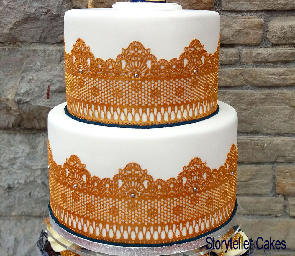 Indian Gold Lace Wedding Cake 3.jpg
