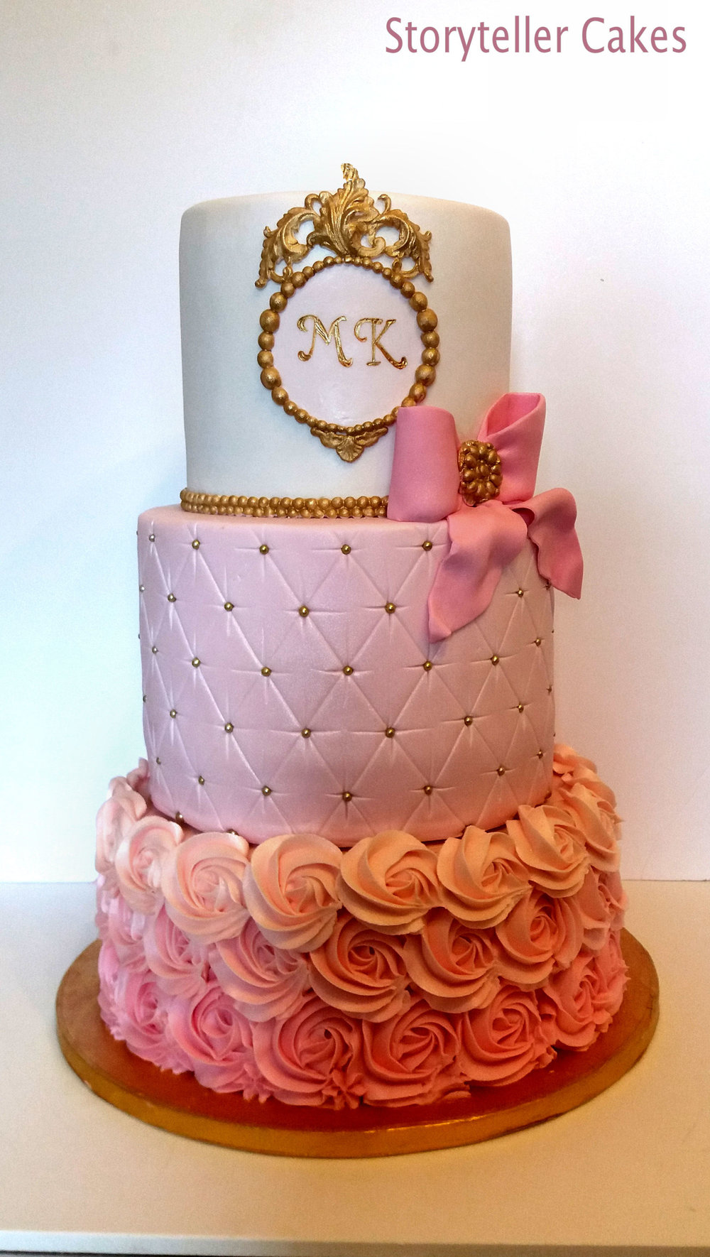 Pink & Gold Girls Birthday Cake 2.jpg