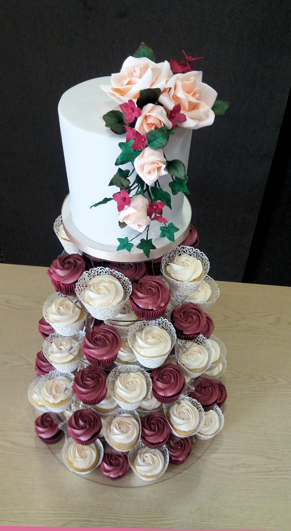 rose wedding cake and cupcake tower 2.jpg