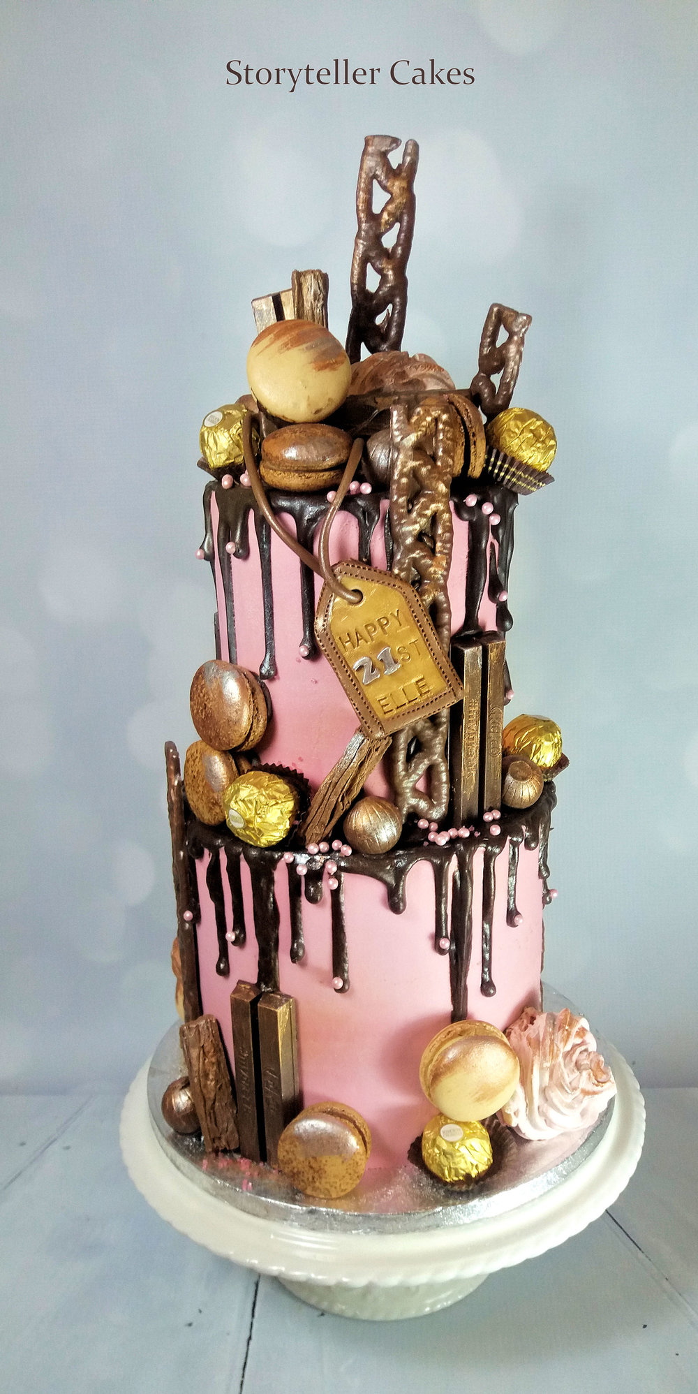 21st Chocolate & Pink Drippy Cake.jpg