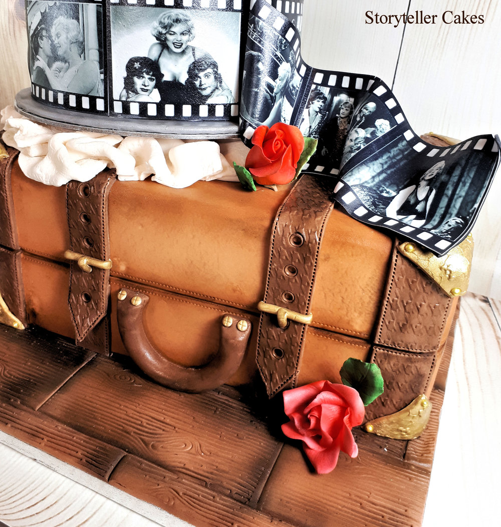 Vintage Suicase & Film Reel Cinema birthday cake 5.jpg