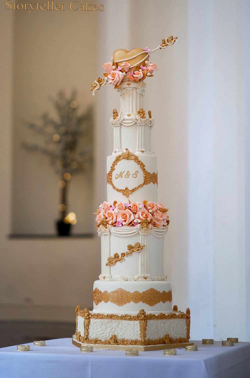 Cherub Floral grecian wedding cake 2.jpg