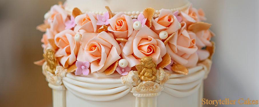 Cherub Floral grecian wedding cake 5.jpg