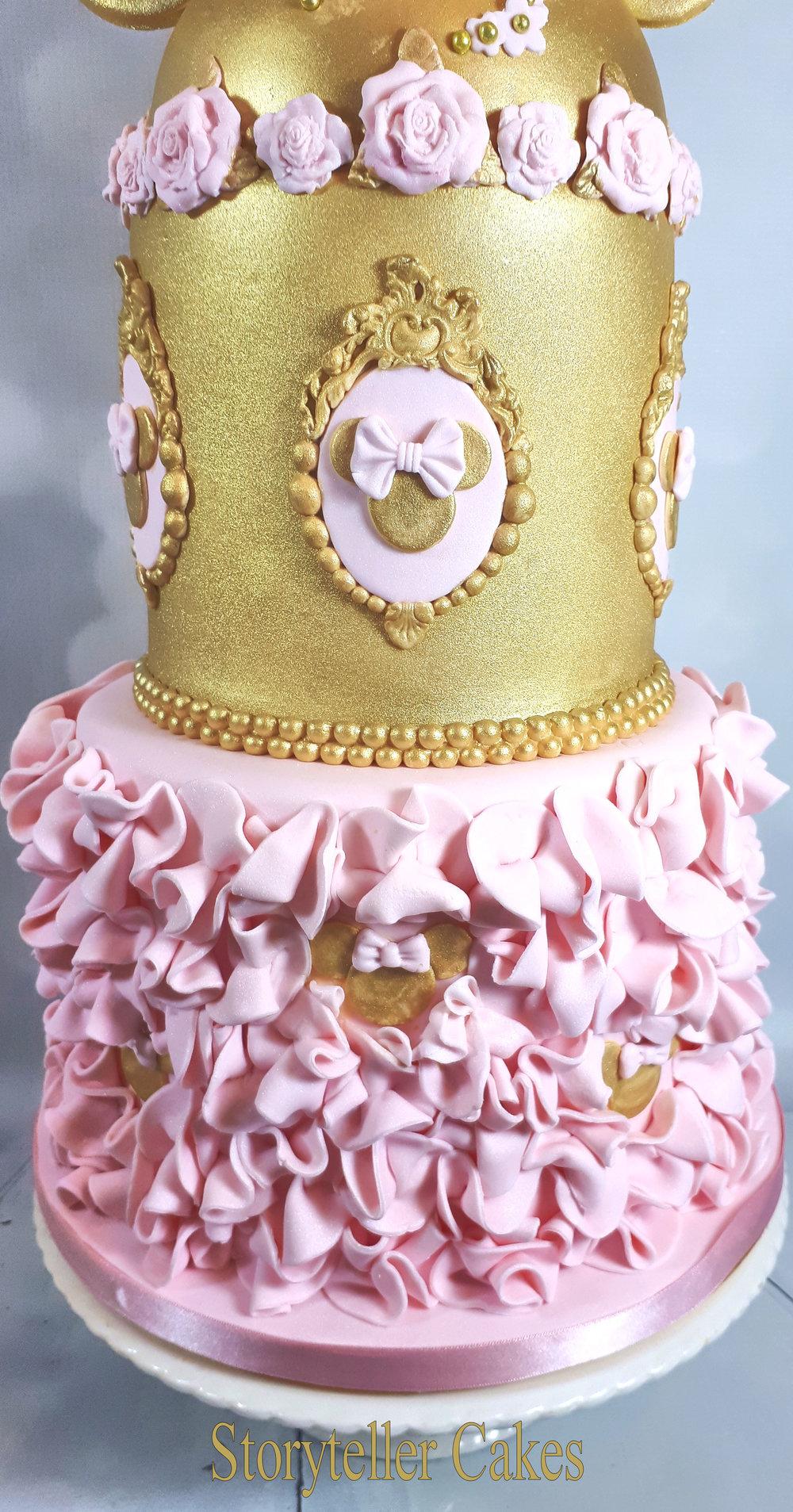 Minnie Mouse Birthday Christening Cake Pink & Gold 2.jpg
