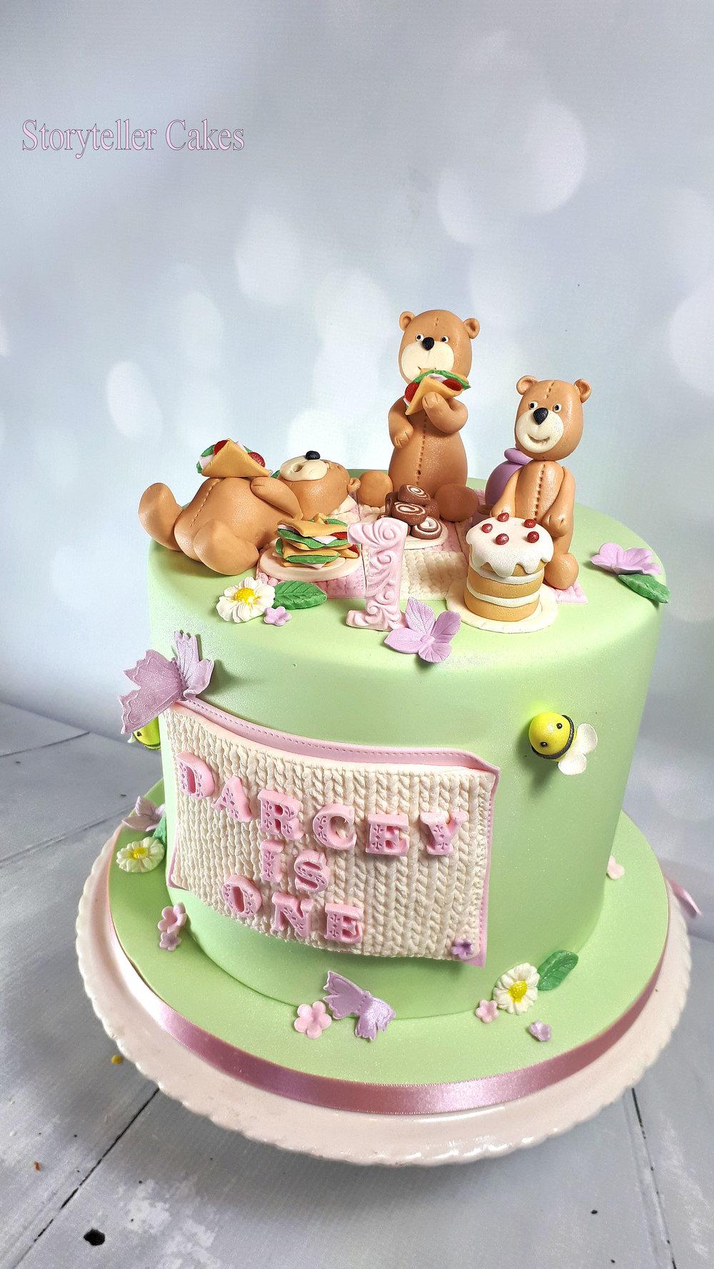Teddy Bears Picnic 1st Birthday Cake For Girls 2.jpg