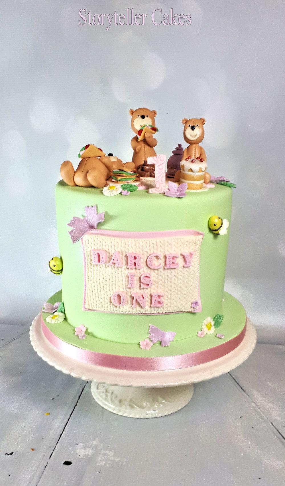 Teddy Bears Picnic 1st Birthday Cake For Girls.jpg